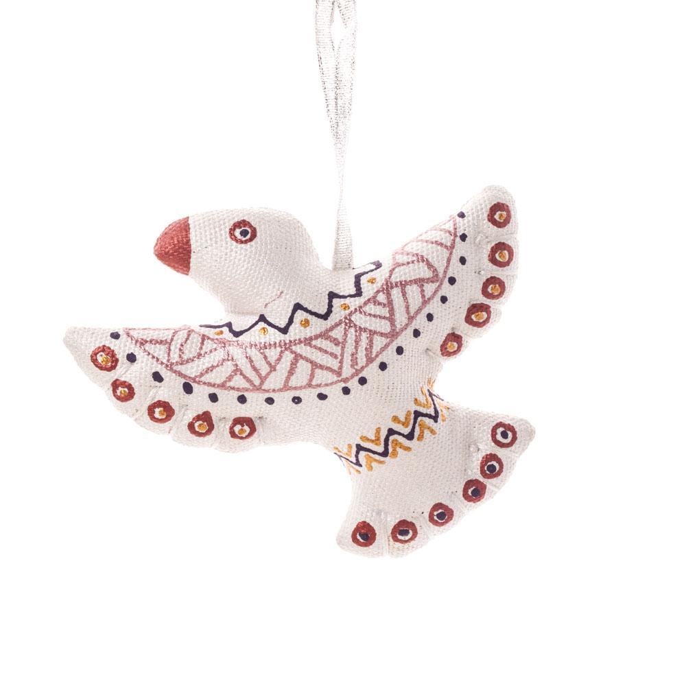 Сріблясто-червона колекція іграшок на ялинку пташка