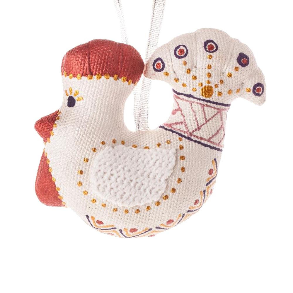 Сріблясто-марсалова колекція іграшок на ялинку півник