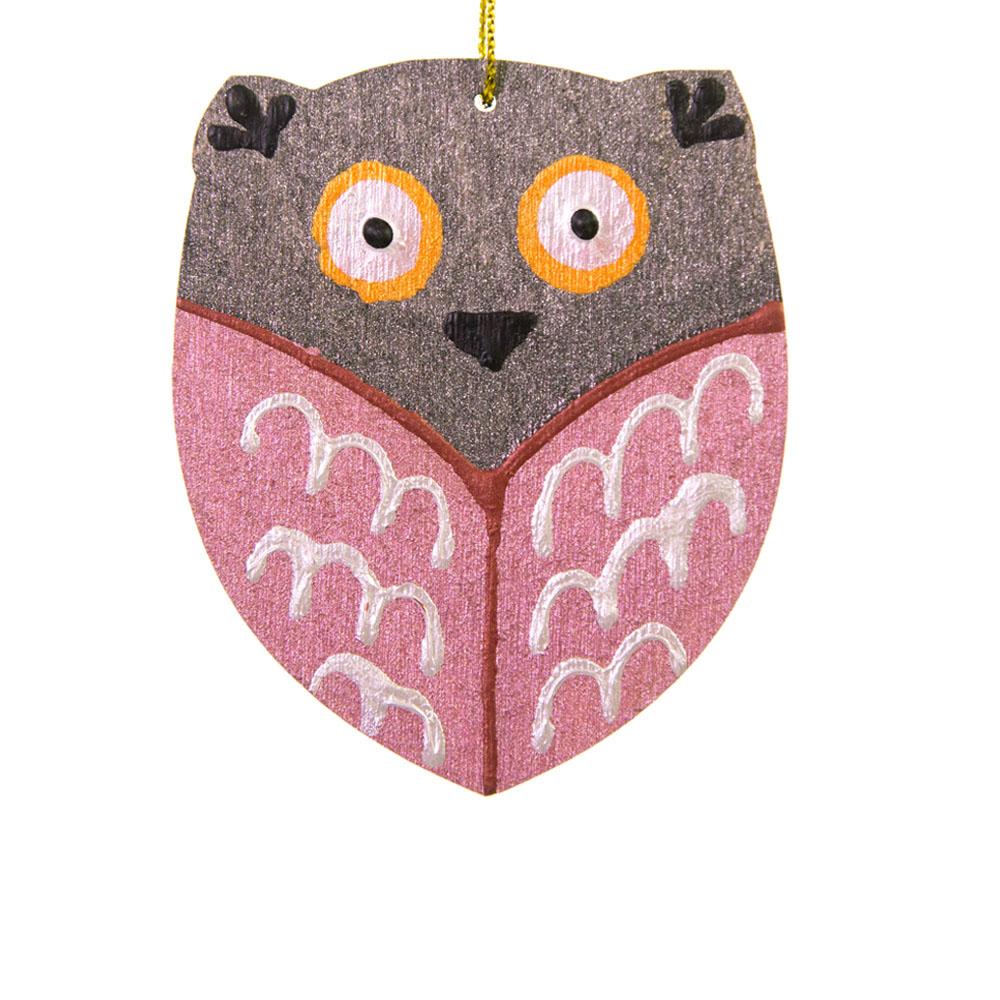 Іграшка на ялинку рожева сова