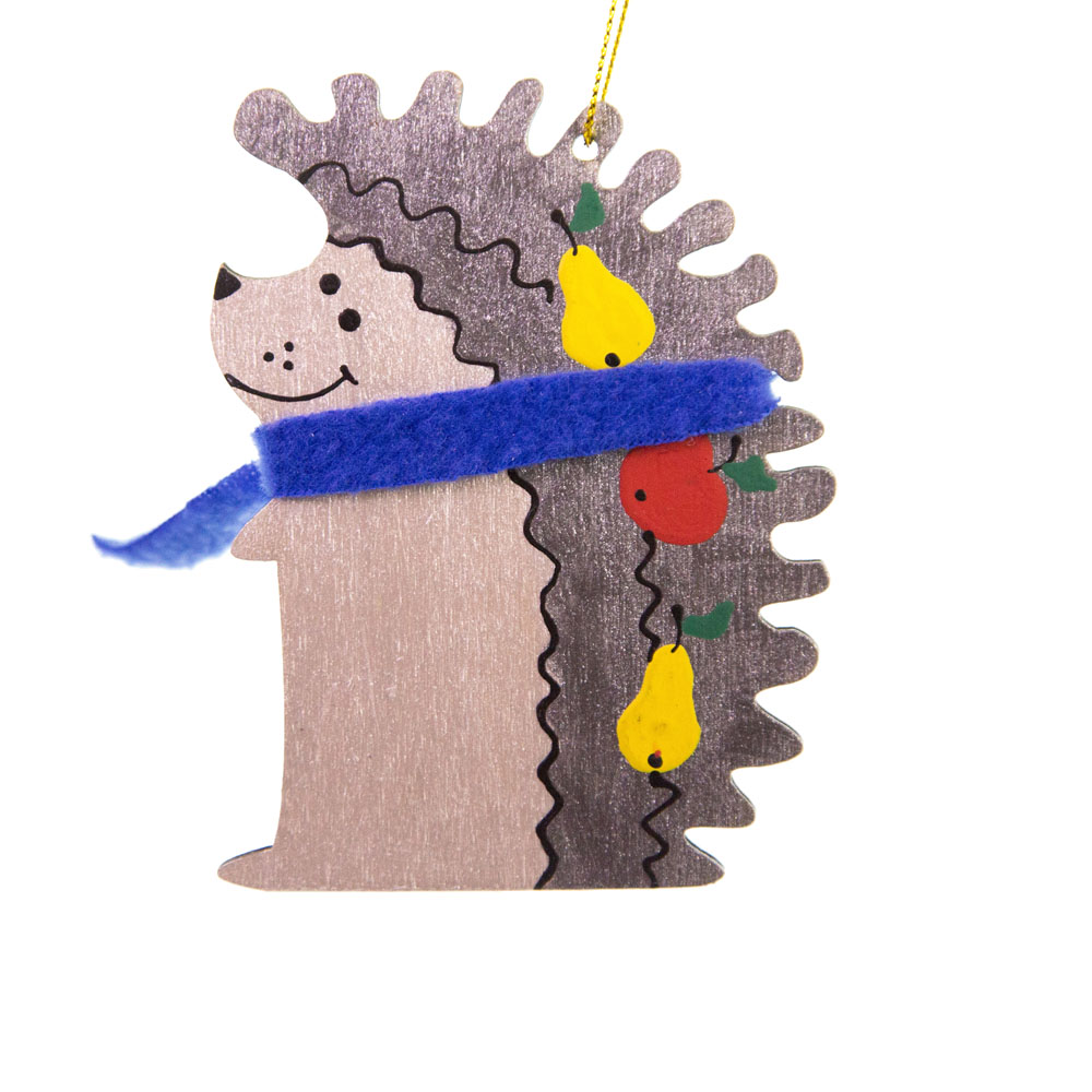 Іграшка на ялинку їжак в шарфі