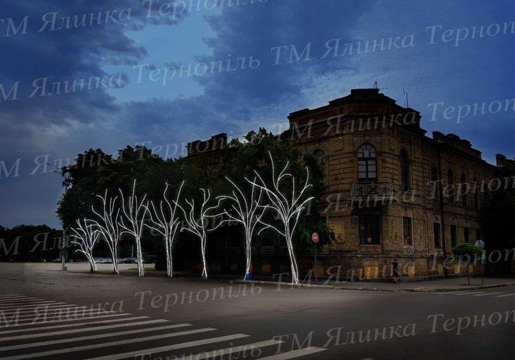 Освітлення на вулиці деревах
