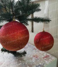 Пластиковая куля с переливанием красная на елку