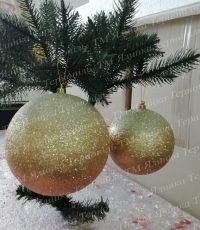 Пластиковая куля с переливанием золотая на елку
