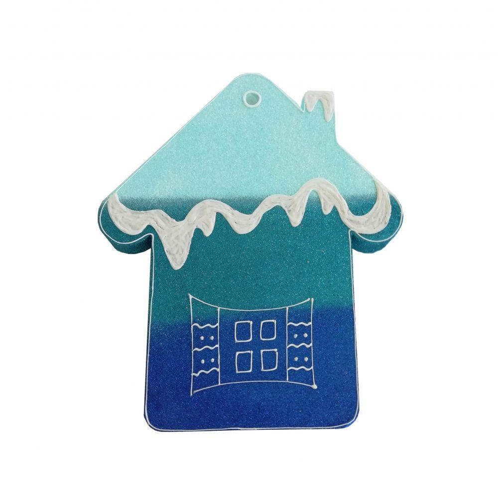 Игрушка на елку домик синий